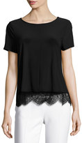 CeCe by Cynthia Steffe Lace-Hem Short-Sleeve Tee, Black