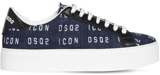 DSQUARED2 30MM NEW TENNIS PRINTED DENIM SNEAKERS