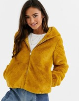 JDY faux fur hooded jacket