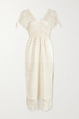 JALINE Net Sustain Bianca Fringed Macrame-trimmed Cotton Midi Dress - Ecru