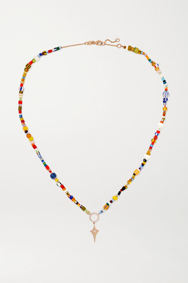 Diane Kordas 14-karat Rose Gold, Diamond And Beaded Necklace