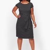Talbots Faux-Wrap Jersey Shift Dress - Stripe