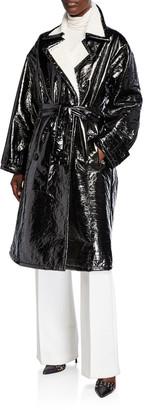 STAND Erica Patent Coat w/ Faux Fur Trim