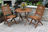 Outdoor Interiors 3Pc Brazilian Eucalyptus Bistro Set With Folding Side Chairs