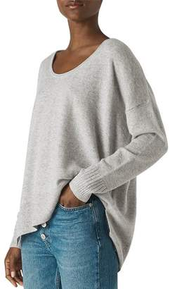 Whistles Cashmere Scoop-Neck Handkerchief Hem Sweater