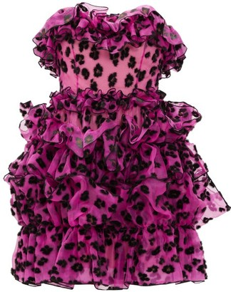 Christopher Kane Leopard-flocked Ruffled Silk-organza Mini Dress - Black Pink