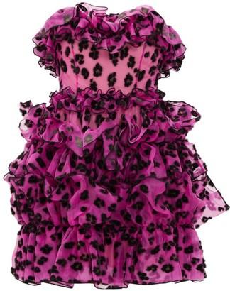 Christopher Kane Leopard-flocked Ruffled Silk-organza Mini Dress - Womens - Black Pink