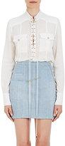 Balmain Women's Lace-Up Cotton Long-Sleeve Shirt-WHITE