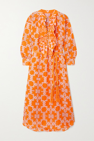 Thumbnail for your product : Yvonne S Belted Ruffled Printed Linen Midi Dress - Orange