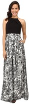 Aidan Mattox Halter Neck Gown with Embroidered Lace Skirt