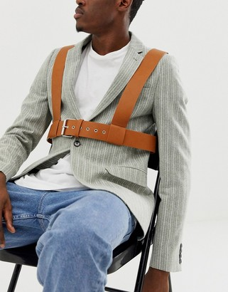 ASOS DESIGN faux leather chest harness in tan