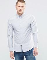 Farah Oxford Shirt In Slim Fit Light Gray