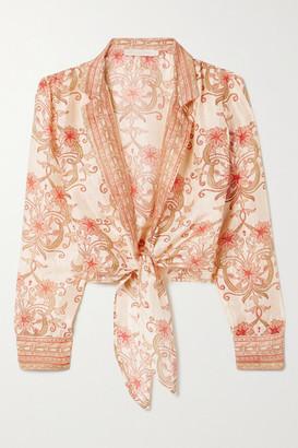 Savannah Morrow The Label The Jaipur Cropped Tie-front Printed Silk-dupioni Top - Cream