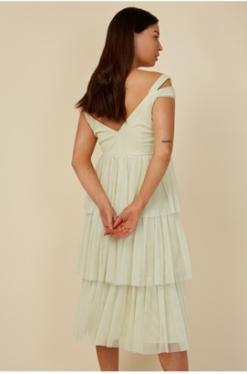 Little Mistress Bridesmaid Luana Lime Tiered Mesh Midi Dress