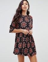 Motel Tea Dress With Blouson Sleeves In Floral Kaleidoscope