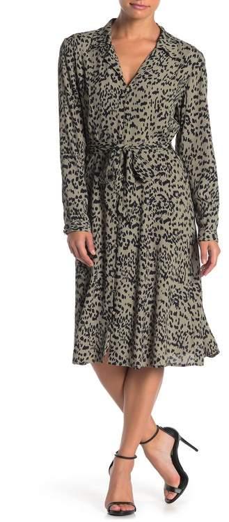 Velvet Heart Nordica Long Sleeve Button Down Leopard Print Midi Dress