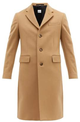 Burberry Single Breasted Tailored Wool Blend Coat - Mens - Camel