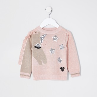 River Island Mini girls unicorn frill sequin jumper