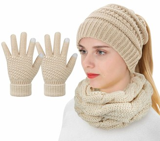 Voqeen Hat Gloves Scarf Set for Women Ladies Girls Winter Warm Knitted Scarf Beanie Hat and Touch Screen Gloves Set for Ski Outdoor Sports 3 in 1