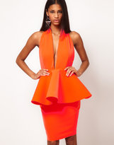 Aqua Louise Halterneck Peplum Pencil Dress