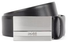 HUGO BOSS Italian-leather belt with branded plaque buckle