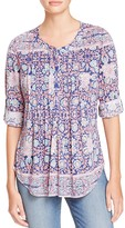 Daniel Rainn Printed Pintuck Blouse