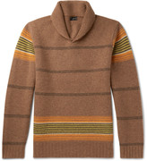 J.crew - Shawl-collar Striped Lambswool Sweater
