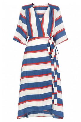 Traffic People Multi Cotton and Linen Mykonos Stripe Wrap Dress - M - White/Blue