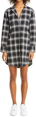 Off-White Coulisse Long Sleeve Flannel Shirtdress