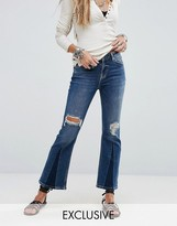 Free People Color Blocked Cropped Flare Jean