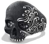 David Yurman Waves Large Skull Ring With Black Diamonds