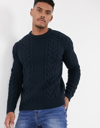 Topman cable knit jumper in navy