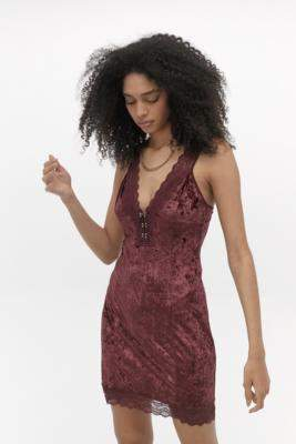 Free People Wait For It Maroon Mini Dress - red S at Urban Outfitters