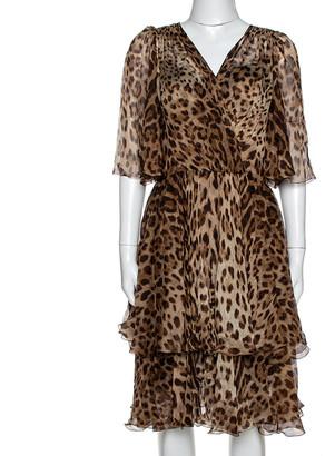 Dolce & Gabbana Brown Leopard Print Silk Chiffon Flared Dress M