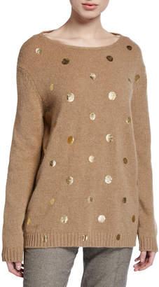 Piazza Sempione Wool Crewneck Tie-Back Sweater