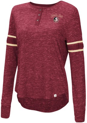 Colosseum Women's Garnet Florida State Seminoles Stag Leap Sleeve Striped Long Sleeve Henley T-Shirt