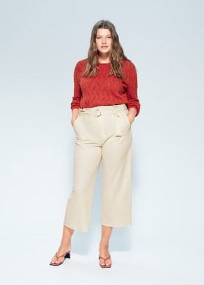 MANGO Violeta BY Back neckline cotton jumper red - S - Plus sizes