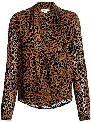 L'Agence Lydia Leopard Velvet Burnout Blouse