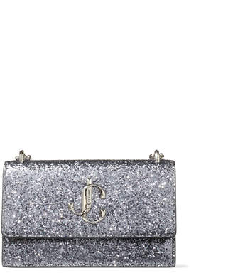 Jimmy Choo BOHEMIA Silver Galactica Glitter Fabric Mini Bag with Chain Strap