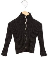 Makie Girls' Mock Neck Wool Cardigan
