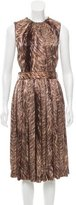 Dolce & Gabbana Silk Belted Midi Dress w/ Tags