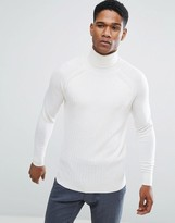 Reiss Cable Textured Knit Roll Neck In Wool