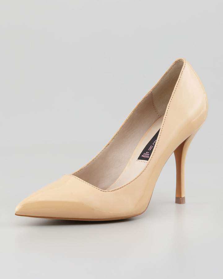 Steven Mikka Patent Point-Toe Pump, Nude