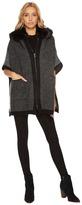 Steve Madden Zip Front Fur Hooded Thick Knit Ruana Women's Coat