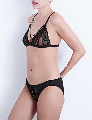Coco de Mer Seraphine silk-satin and lace triangle bra