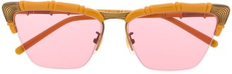 Gucci Bamboo-Effect Cat-Eye Sunglasses