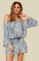 Blue Life shirred waist open shoulder dress