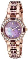 Swarovski Armitron Women's 75/3689VMRG Amethyst Colored Crystal Accented Rose -Tone Watch