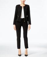 Calvin Klein Faux-Leather-Trim Zip-Front Jacket
