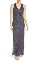Adrianna Papell Women's Mesh Column Gown